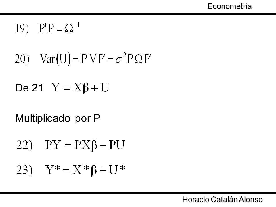 De 21 Multiplicado por P Econometría Taller de Econometría