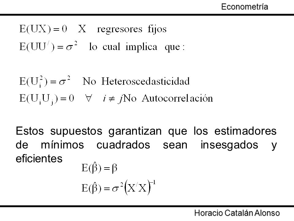Econometría Taller de Econometría. Estos supuestos garantizan que los estimadores de mínimos cuadrados sean insesgados y eficientes.
