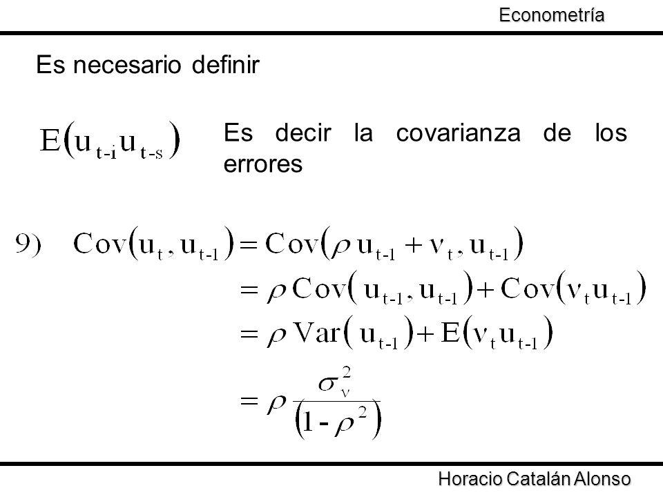 Es decir la covarianza de los errores