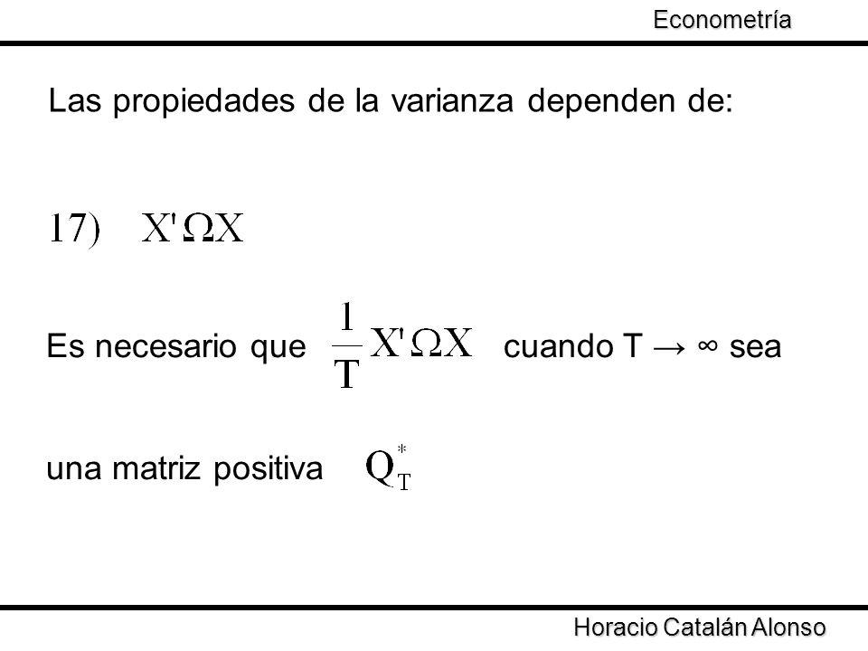 Las propiedades de la varianza dependen de: