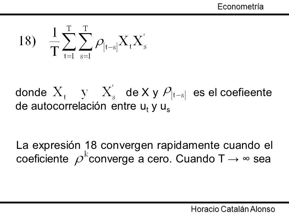 donde de X y es el coefieente de autocorrelación entre ut y us