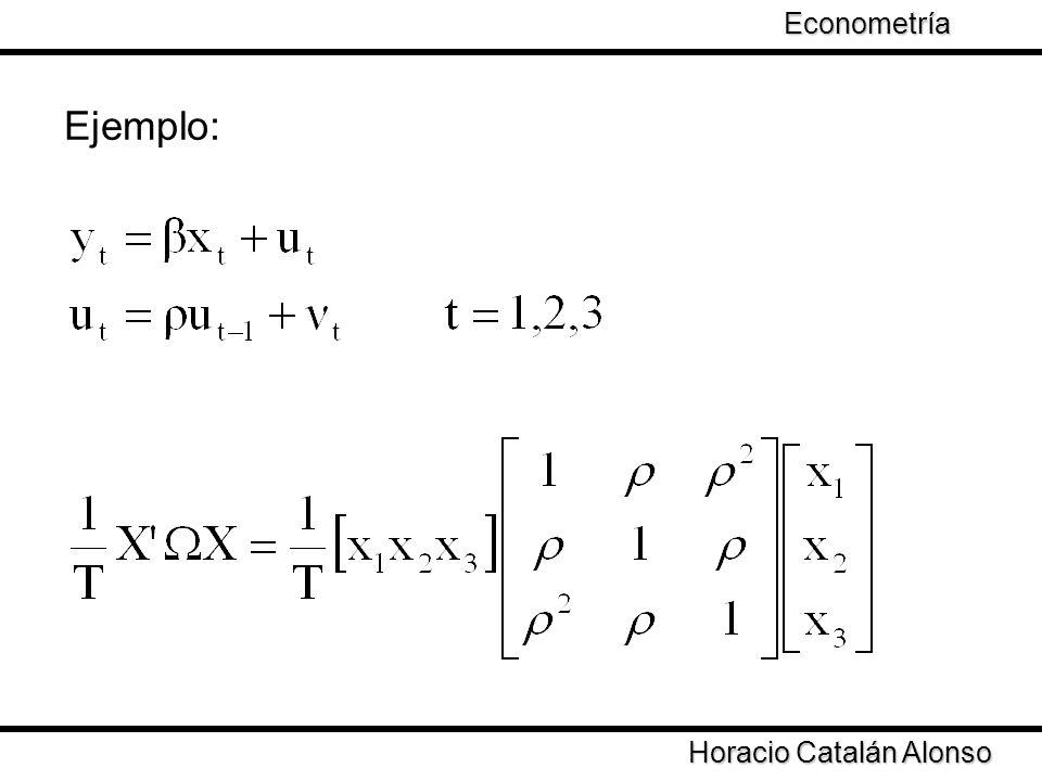 Econometría Taller de Econometría Ejemplo: Horacio Catalán Alonso