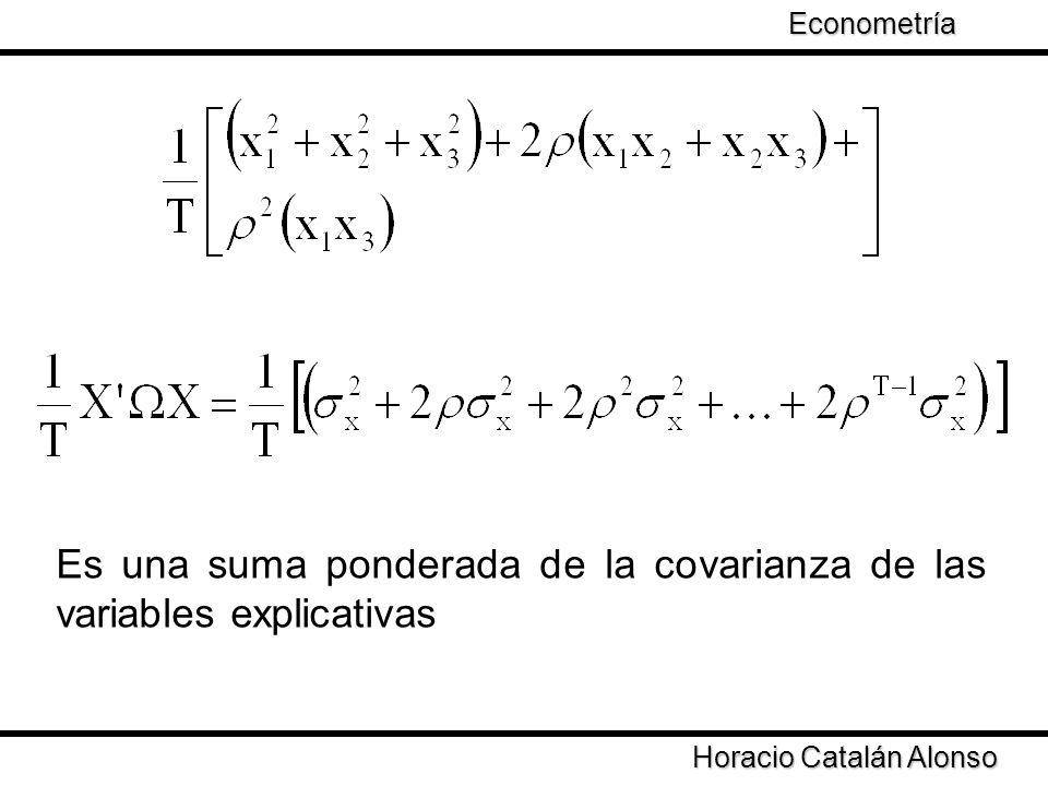 Es una suma ponderada de la covarianza de las variables explicativas