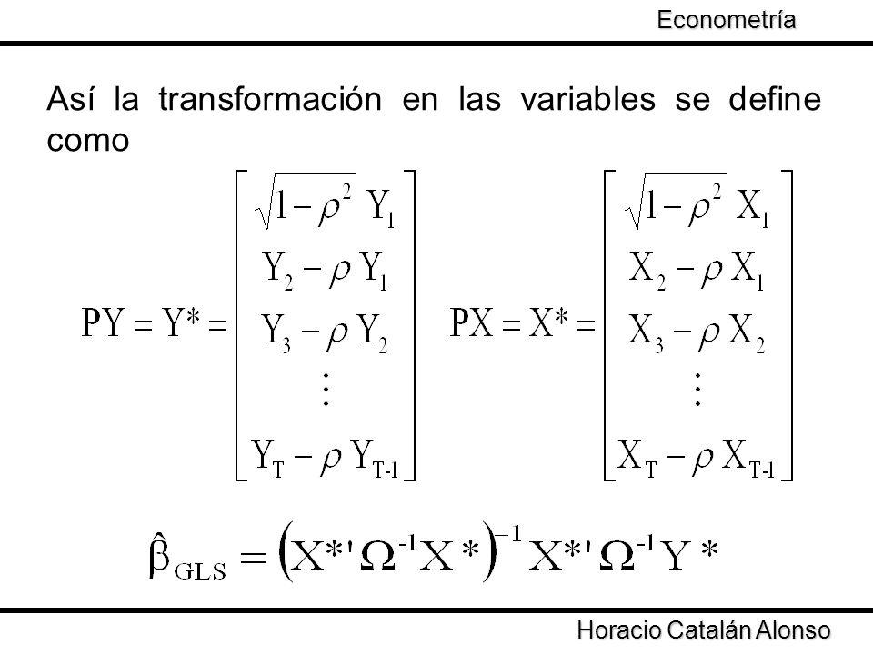 Así la transformación en las variables se define como