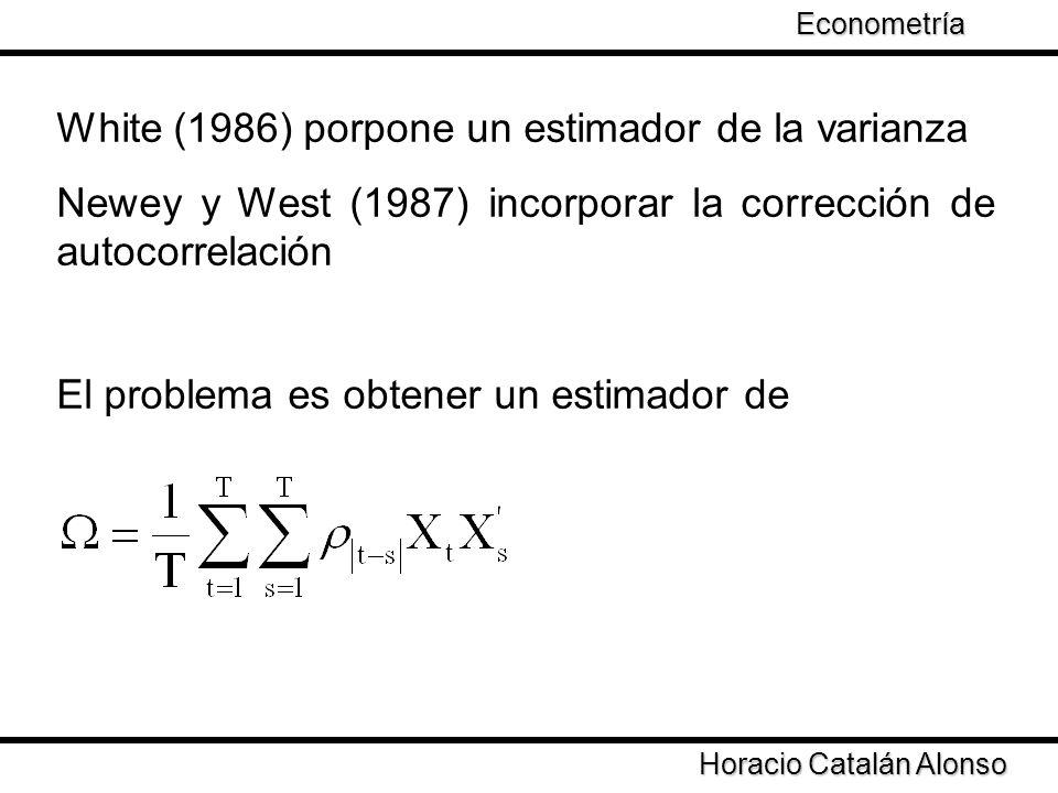 White (1986) porpone un estimador de la varianza