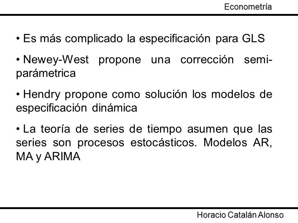 Es más complicado la especificación para GLS