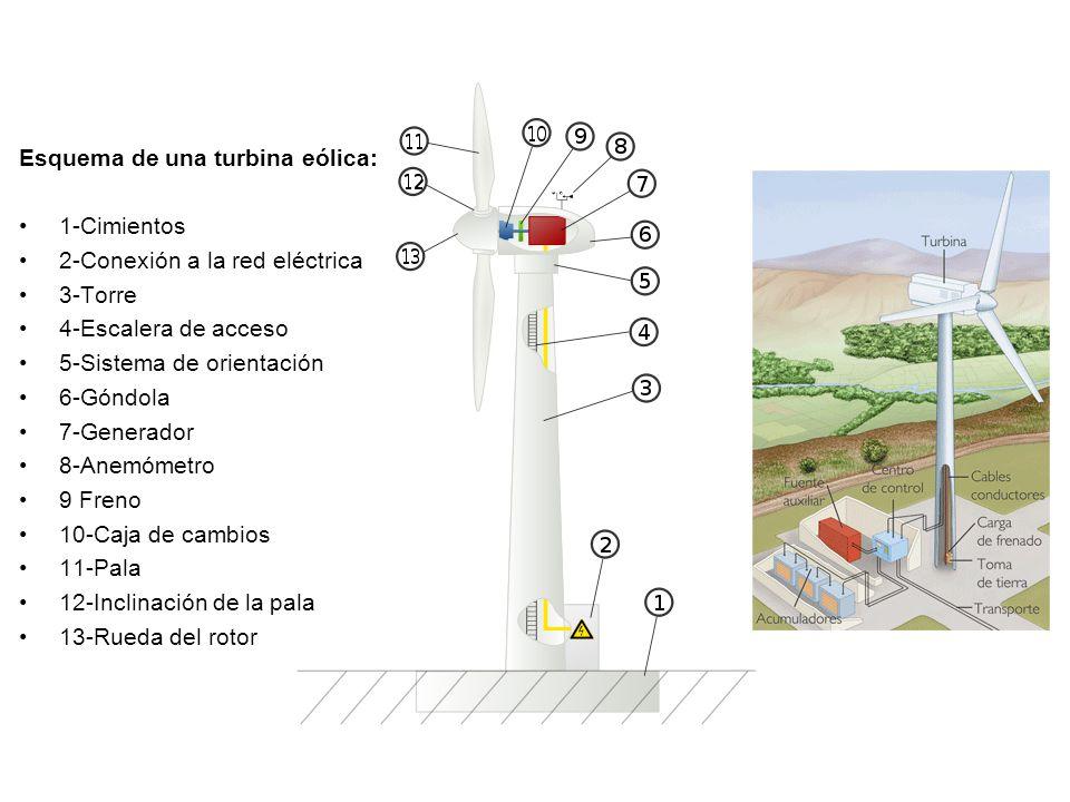 Esquema de una turbina eólica: