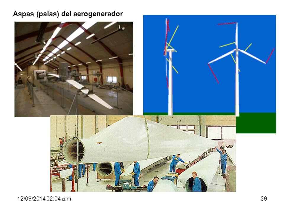 Aspas (palas) del aerogenerador