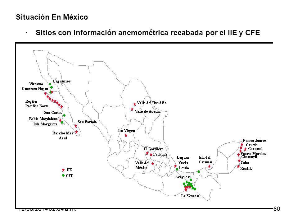· Sitios con información anemométrica recabada por el IIE y CFE