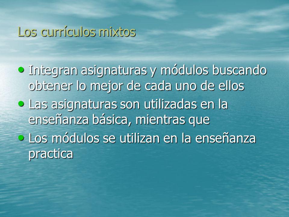 Los currículos mixtos Integran asignaturas y módulos buscando obtener lo mejor de cada uno de ellos.