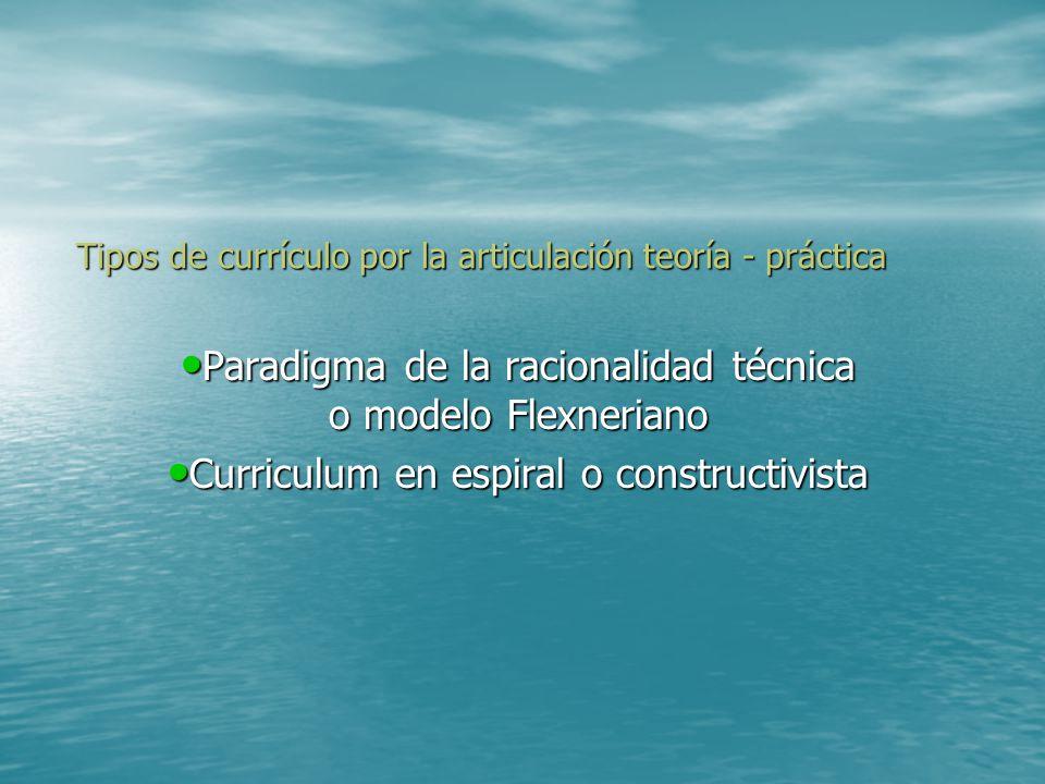 Tipos de currículo por la articulación teoría - práctica