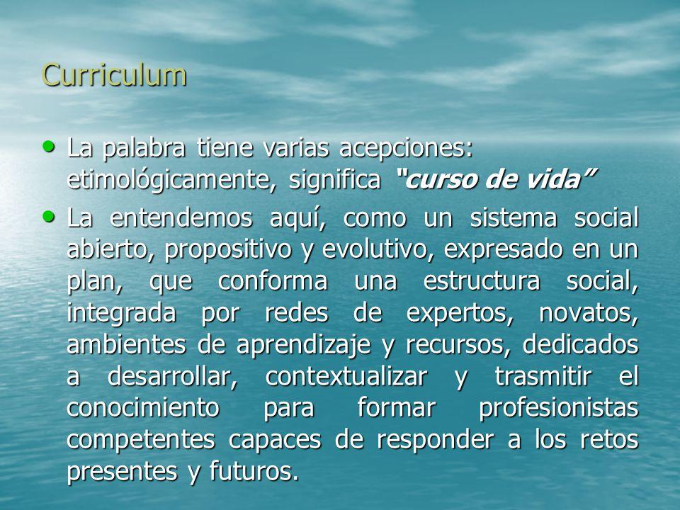 Curriculum La palabra tiene varias acepciones: etimológicamente, significa curso de vida