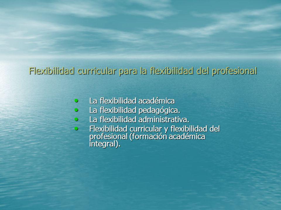 Flexibilidad curricular para la flexibilidad del profesional