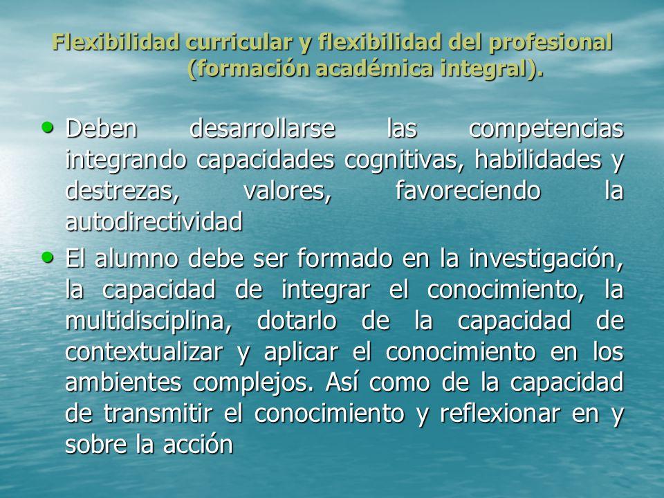 Flexibilidad curricular y flexibilidad del profesional (formación académica integral).