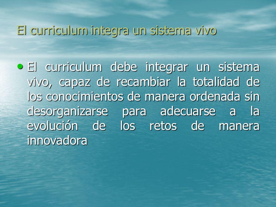 El curriculum integra un sistema vivo