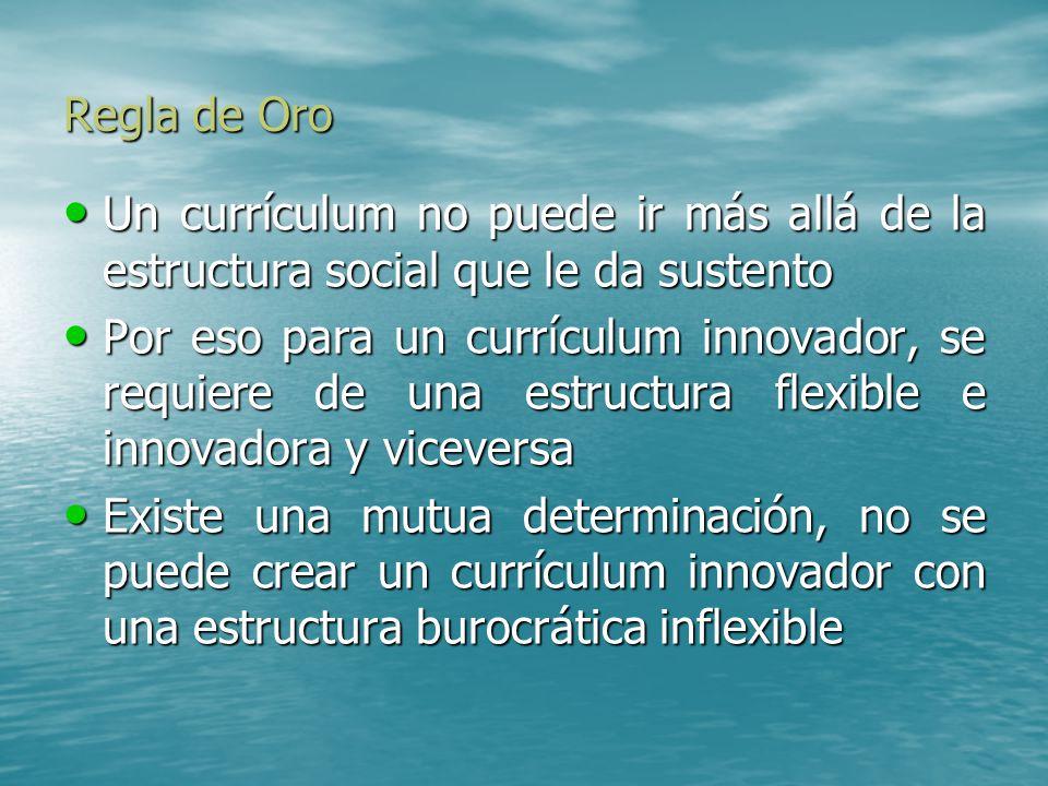 Regla de Oro Un currículum no puede ir más allá de la estructura social que le da sustento.
