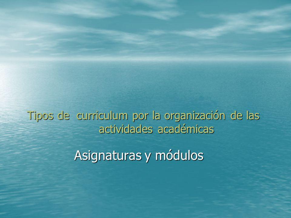Tipos de curriculum por la organización de las actividades académicas