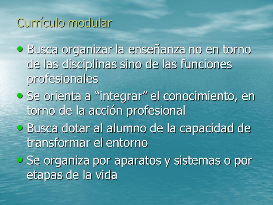 Currículo modular Busca organizar la enseñanza no en torno de las disciplinas sino de las funciones profesionales.