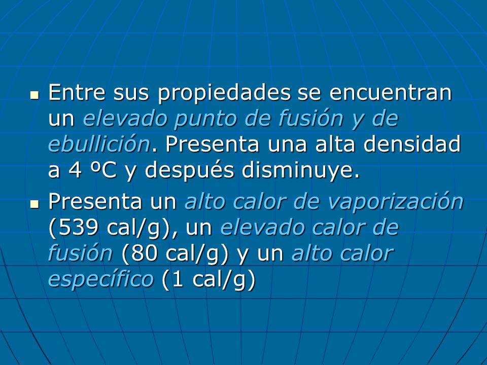 Entre sus propiedades se encuentran un elevado punto de fusión y de ebullición. Presenta una alta densidad a 4 ºC y después disminuye.
