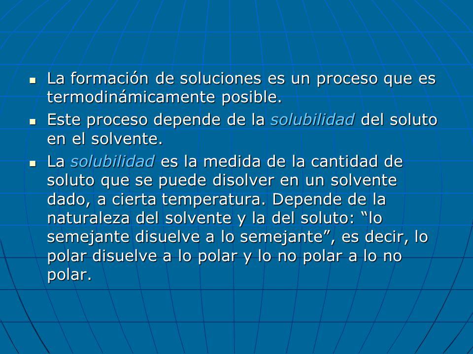 La formación de soluciones es un proceso que es termodinámicamente posible.