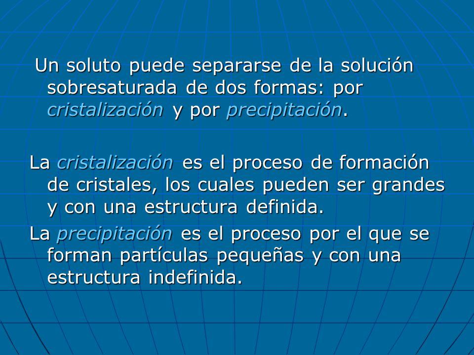 Un soluto puede separarse de la solución sobresaturada de dos formas: por cristalización y por precipitación.