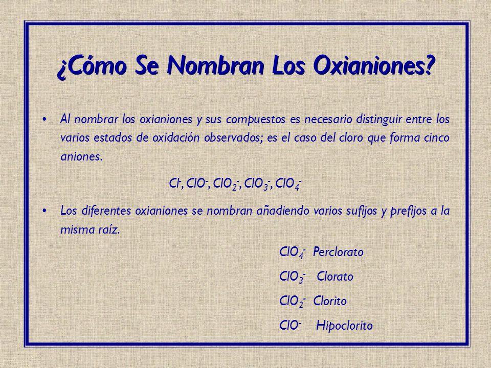 ¿Cómo Se Nombran Los Oxianiones