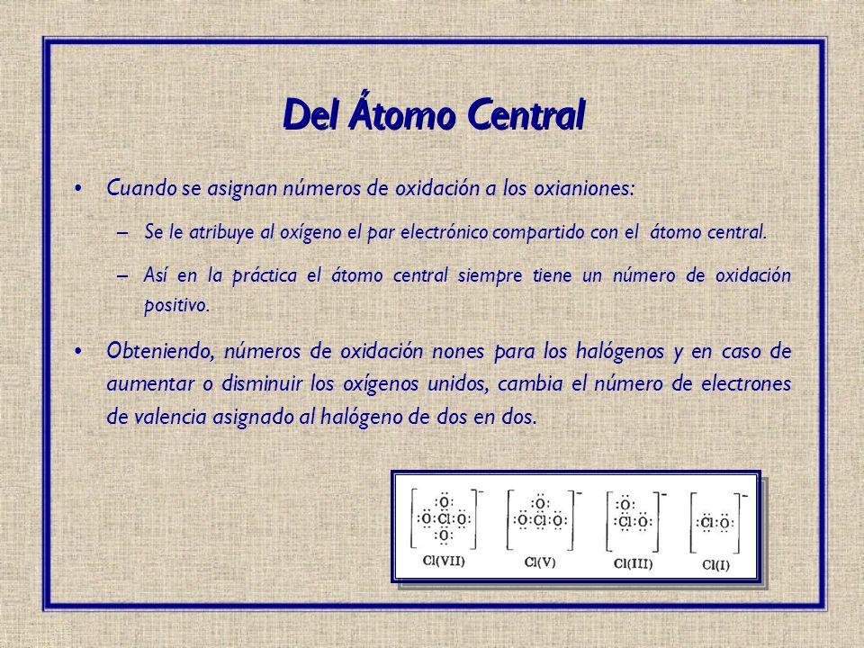 Del Átomo Central Cuando se asignan números de oxidación a los oxianiones: