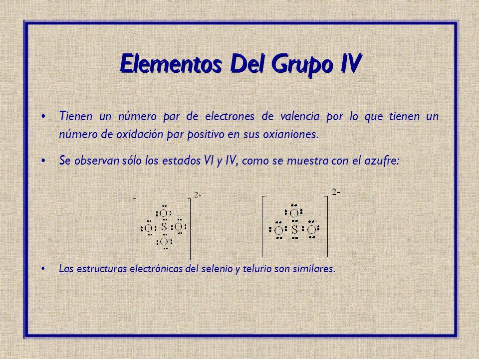Elementos Del Grupo IV Tienen un número par de electrones de valencia por lo que tienen un número de oxidación par positivo en sus oxianiones.
