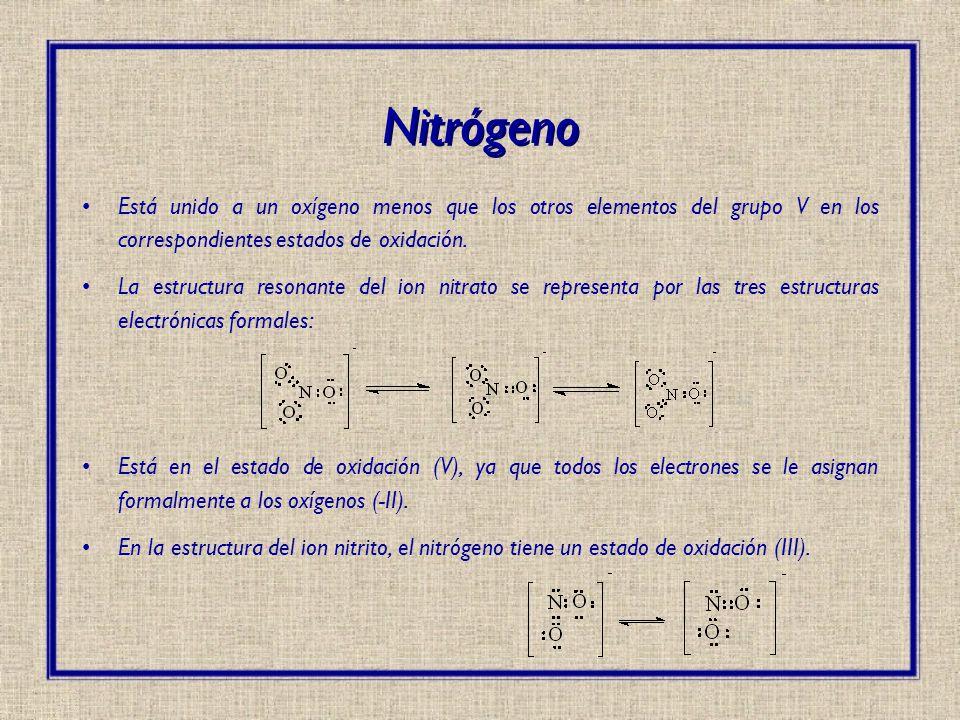 Nitrógeno Está unido a un oxígeno menos que los otros elementos del grupo V en los correspondientes estados de oxidación.