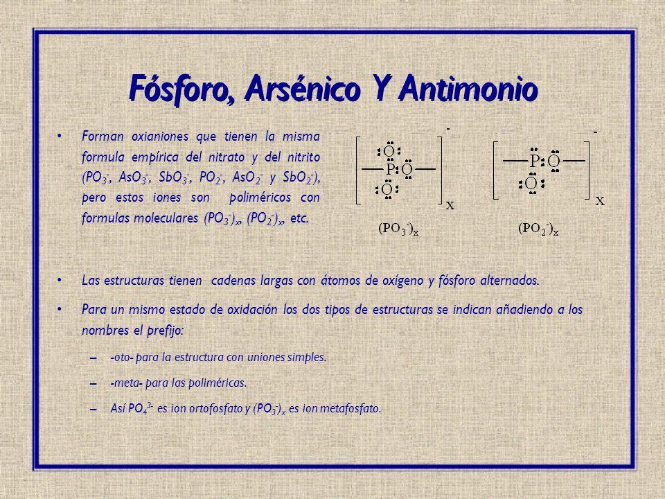 Fósforo, Arsénico Y Antimonio