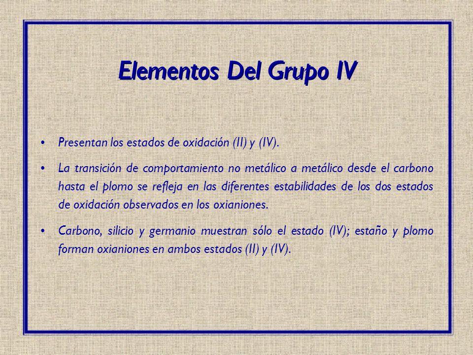Elementos Del Grupo IV Presentan los estados de oxidación (II) y (IV).