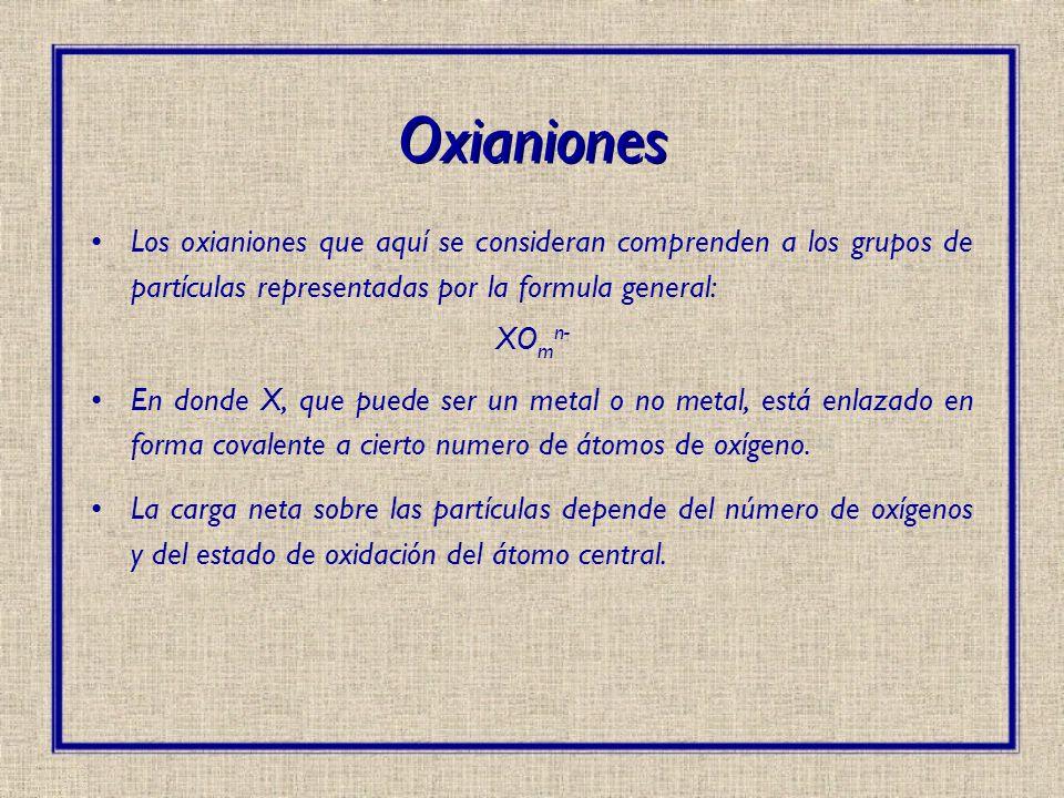 Oxianiones Los oxianiones que aquí se consideran comprenden a los grupos de partículas representadas por la formula general:
