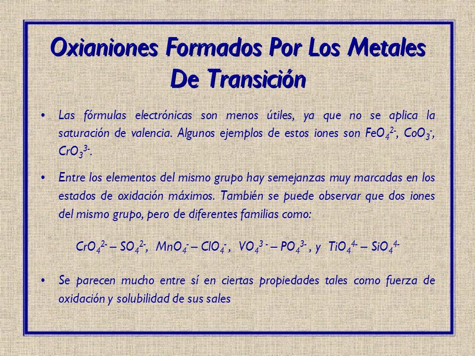 Oxianiones Formados Por Los Metales De Transición
