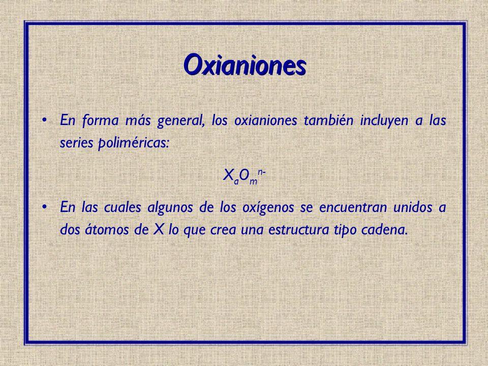 Oxianiones En forma más general, los oxianiones también incluyen a las series poliméricas: XaOmn-