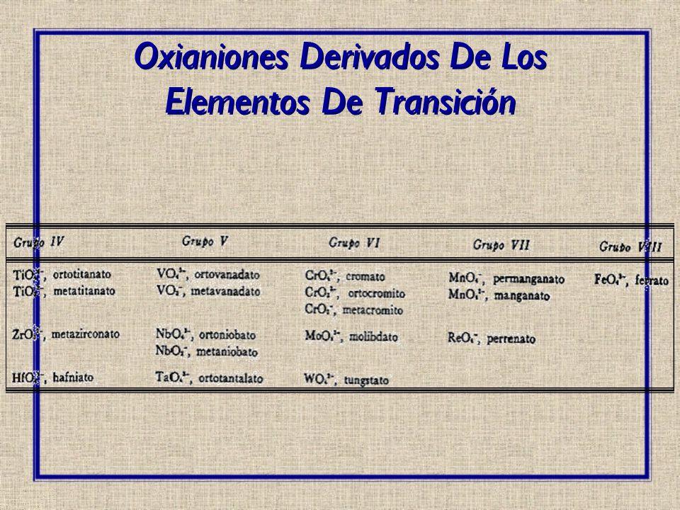 Oxianiones Derivados De Los Elementos De Transición