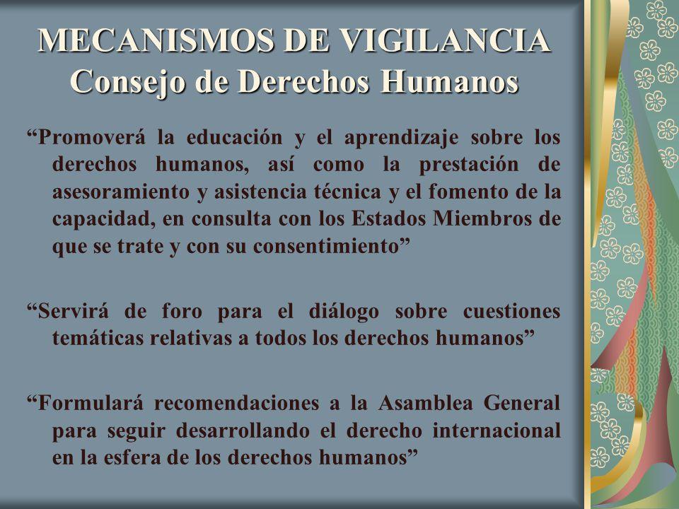 MECANISMOS DE VIGILANCIA Consejo de Derechos Humanos