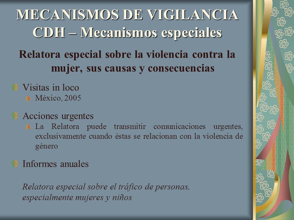 MECANISMOS DE VIGILANCIA CDH – Mecanismos especiales