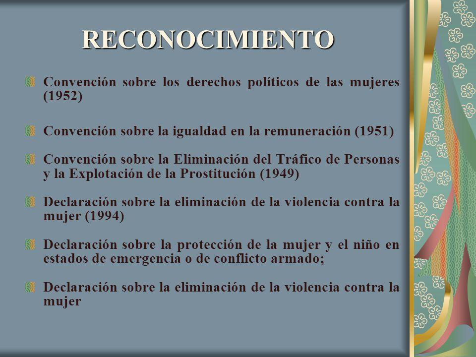 RECONOCIMIENTO Convención sobre los derechos políticos de las mujeres (1952) Convención sobre la igualdad en la remuneración (1951)