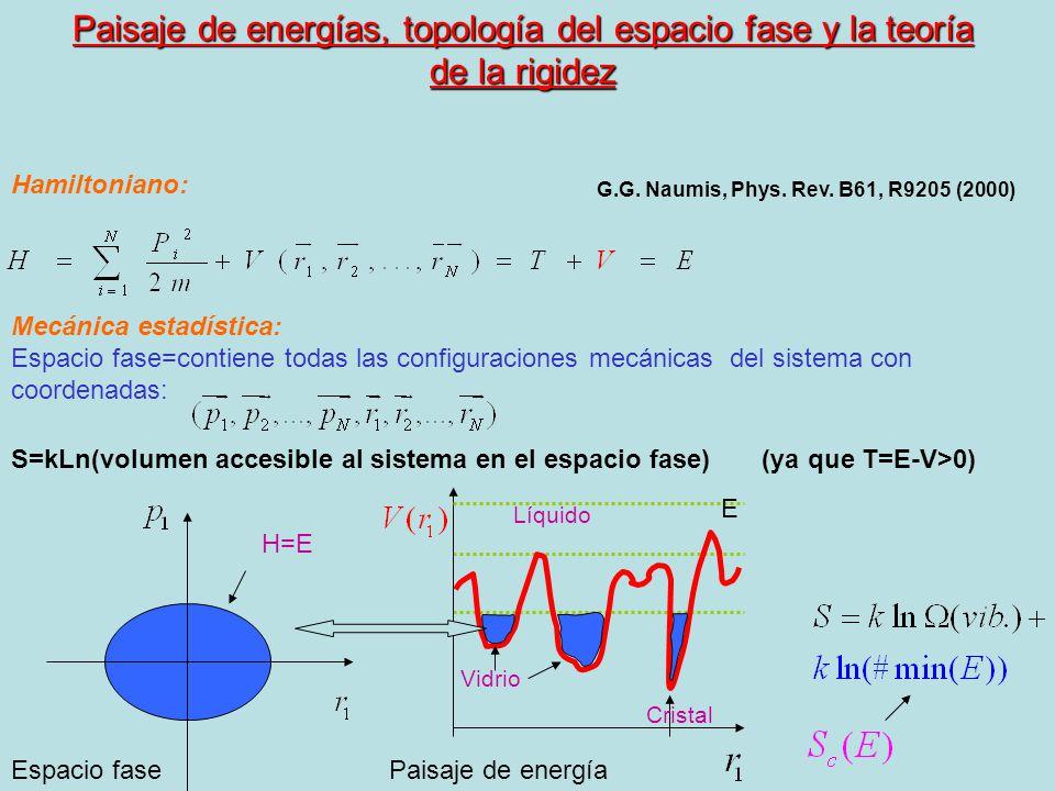Paisaje de energías, topología del espacio fase y la teoría de la rigidez