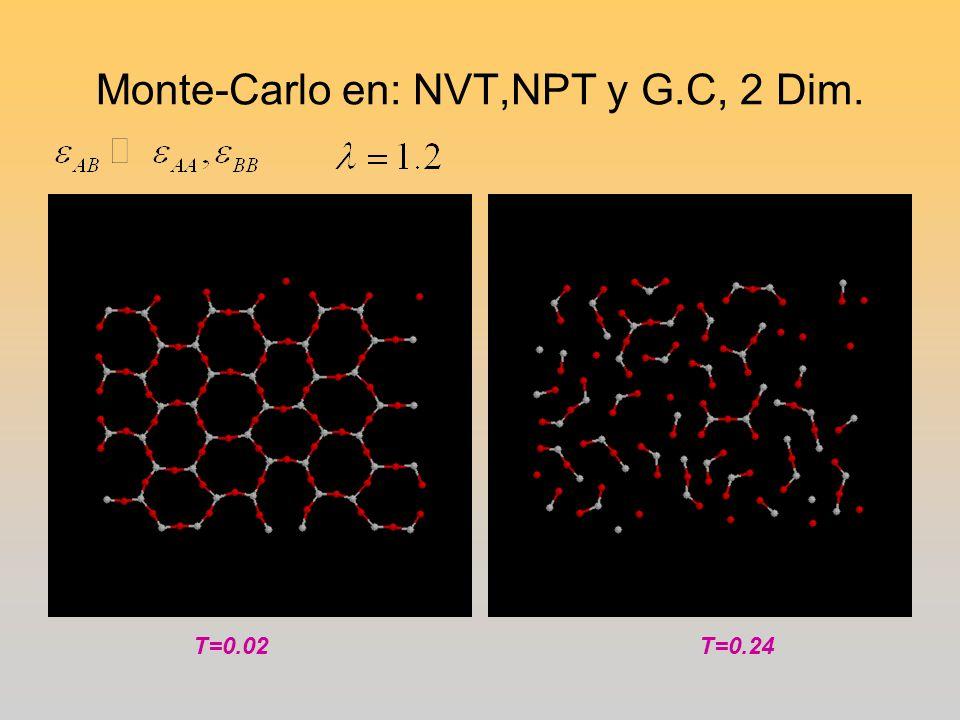 Monte-Carlo en: NVT,NPT y G.C, 2 Dim.