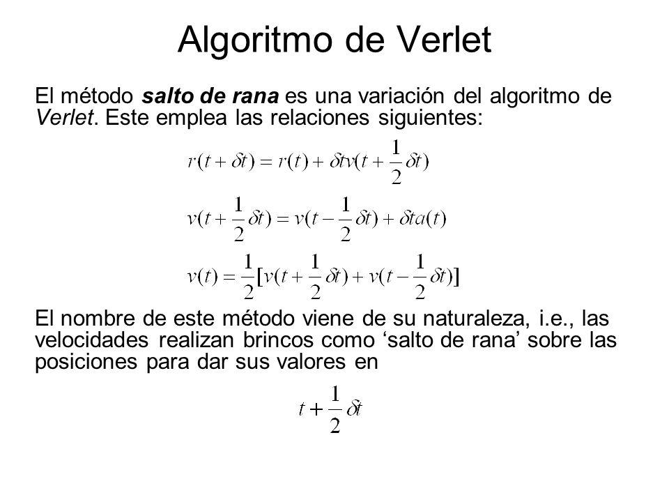 Algoritmo de Verlet El método salto de rana es una variación del algoritmo de Verlet. Este emplea las relaciones siguientes: