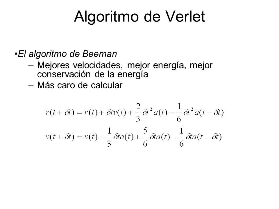 Algoritmo de Verlet El algoritmo de Beeman