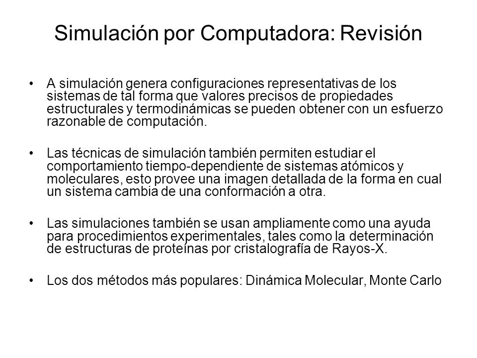 Simulación por Computadora: Revisión