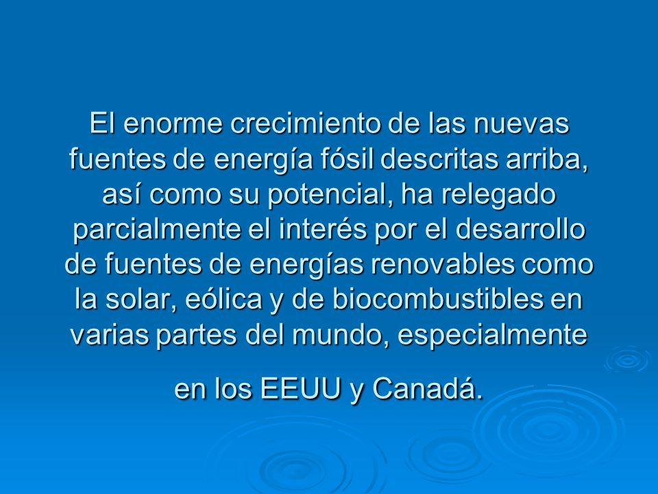 El enorme crecimiento de las nuevas fuentes de energía fósil descritas arriba, así como su potencial, ha relegado parcialmente el interés por el desarrollo de fuentes de energías renovables como la solar, eólica y de biocombustibles en varias partes del mundo, especialmente en los EEUU y Canadá.