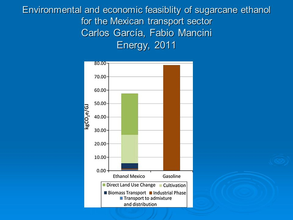 Environmental and economic feasiblity of sugarcane ethanol for the Mexican transport sector Carlos García, Fabio Mancini Energy, 2011