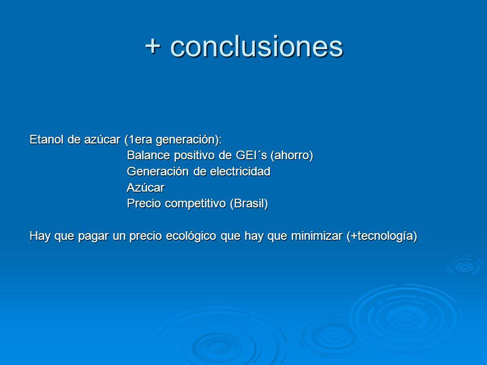 + conclusiones Etanol de azúcar (1era generación):