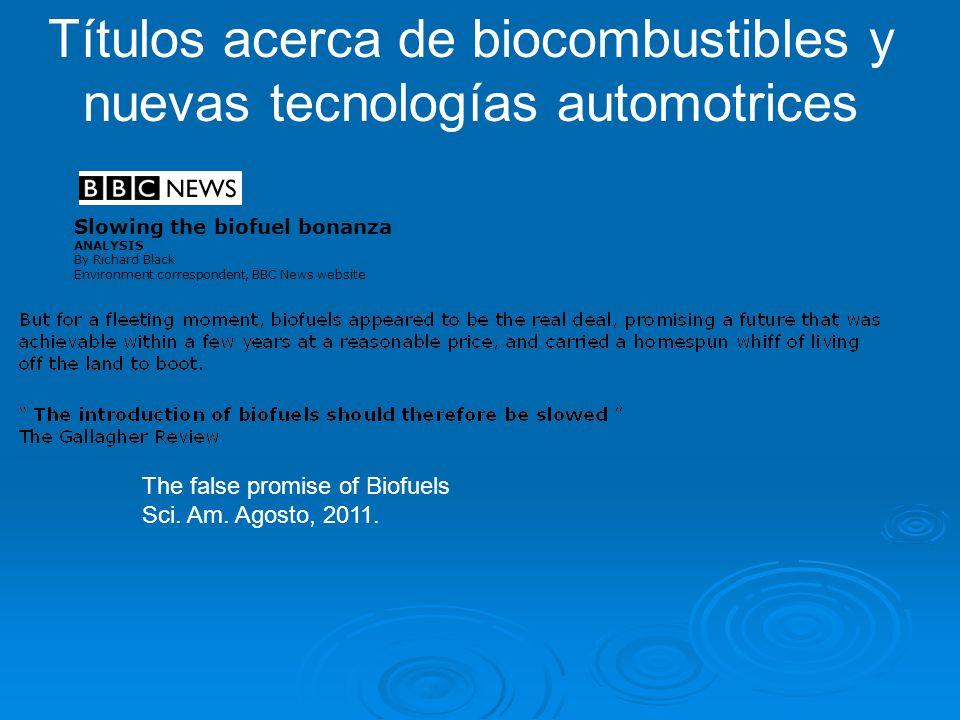Títulos acerca de biocombustibles y nuevas tecnologías automotrices