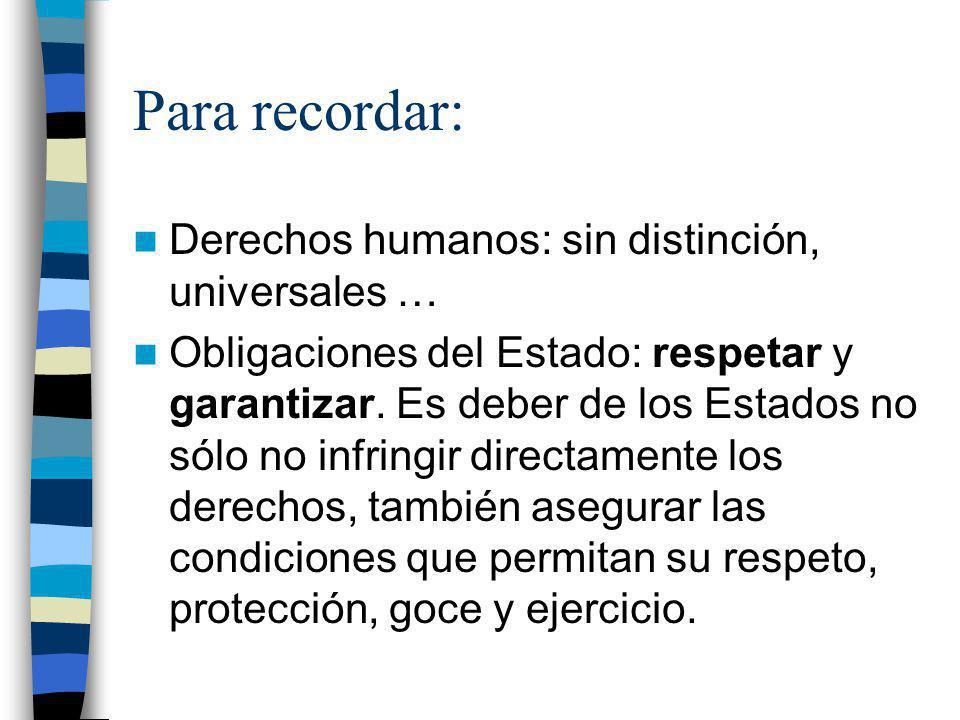 Para recordar: Derechos humanos: sin distinción, universales …