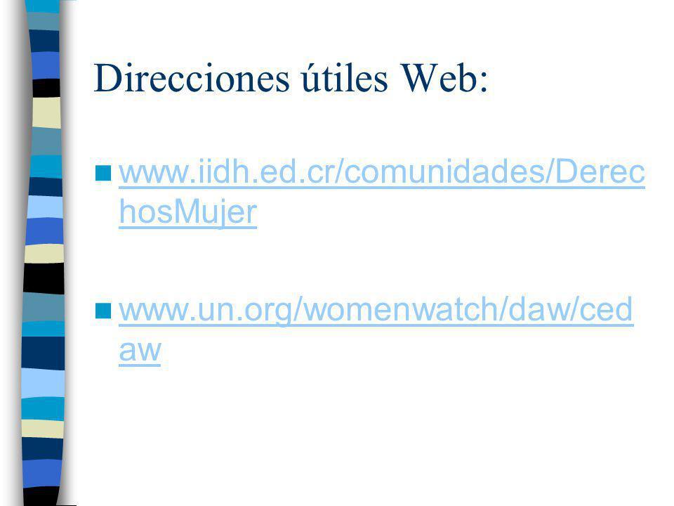 Direcciones útiles Web: