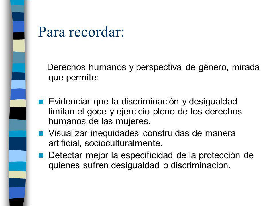 Para recordar: Derechos humanos y perspectiva de género, mirada que permite: